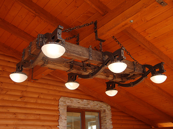 Chandelier on a frame of wood